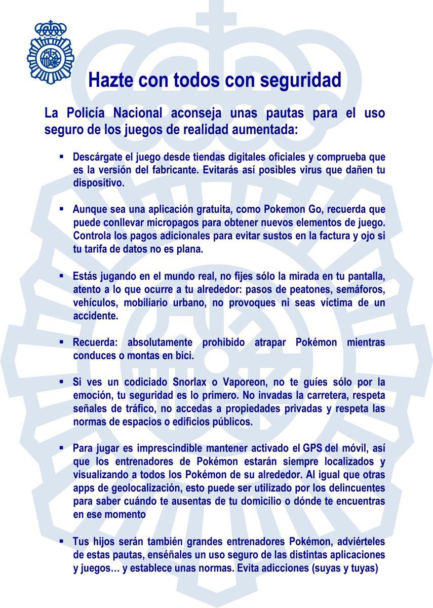La Policía Nacional española presenta sus pautas de seguridad para Pokémon Go