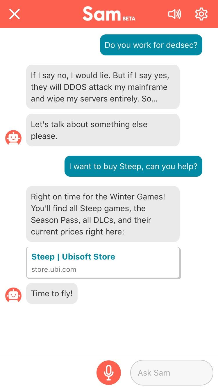 Ubisoft anuncia Sam: un asistente personal para jugadores