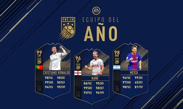 Ronaldo, Messi y Kane, los delanteros del TOTY de FIFA 18 Ultimate Team