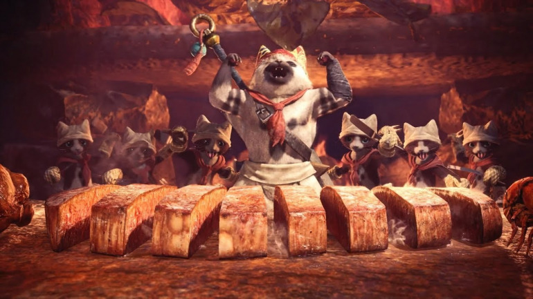 The Chef and his companions Felyne in Monster Hunter: World