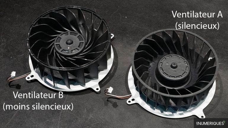 Ventilador silencioso a la derecha; el que hace algo más de ruido a la izquierda. Fuente: Les Numeriques.