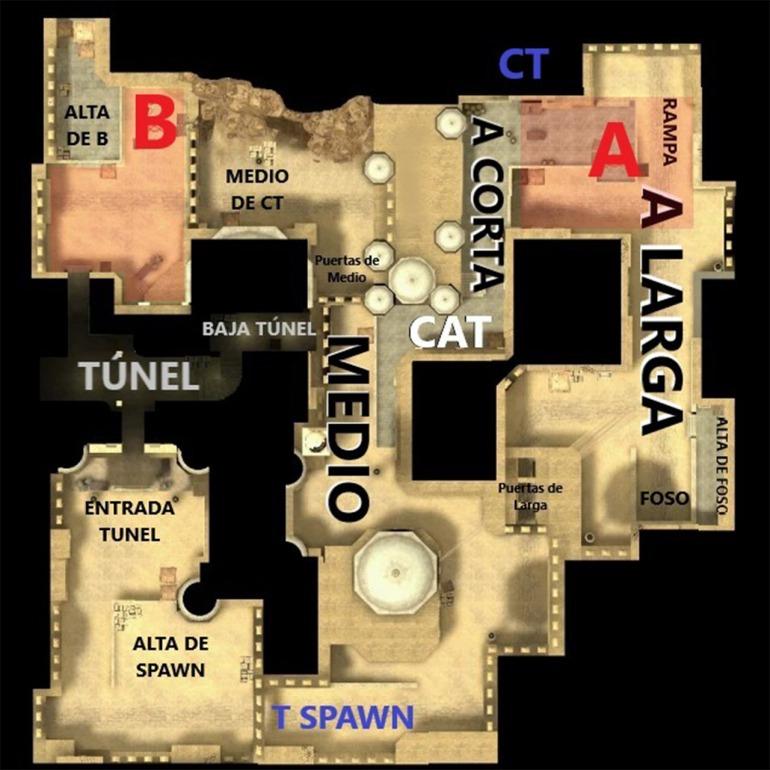 Estos son sólo algunas referencias para desplazarnos por Dust II. El mapa está medido al milímetro.