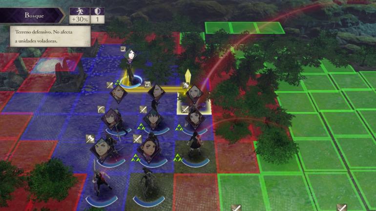 En Fire Emblem el escenario y el movimiento conforman gran parte de la estrategia.