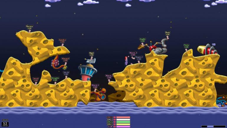 Worms Armageddon basa gran parte de su gameplay en las físicas e interacciones de sus armas, escenarios y avatares.