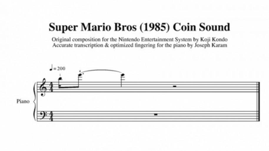 Partitura del sonido de moneda de Super Mario Bros.