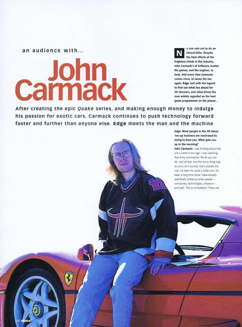 John Carmack y su Ferrari F-50 en las páginas de Edge Magazine