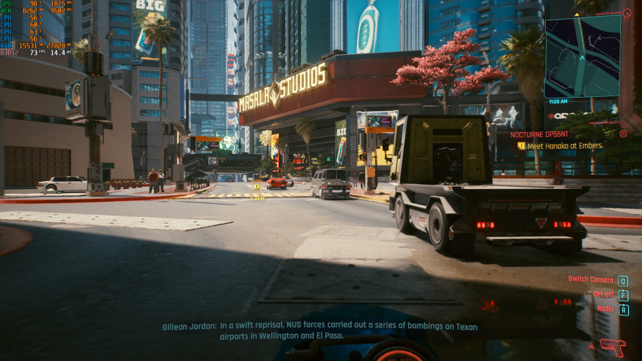 Cyberpunk 2077, 1080p Ultra (DLSS calidad).