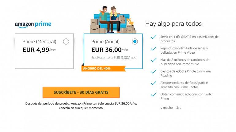 Amazon Prime pasa a costar 36 euros en España, un 80% más
