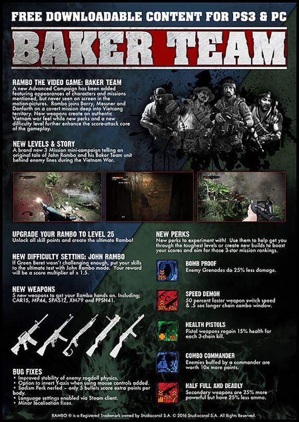 El videojuego de Rambo recibe hoy nuevo contenido descargable gratuito