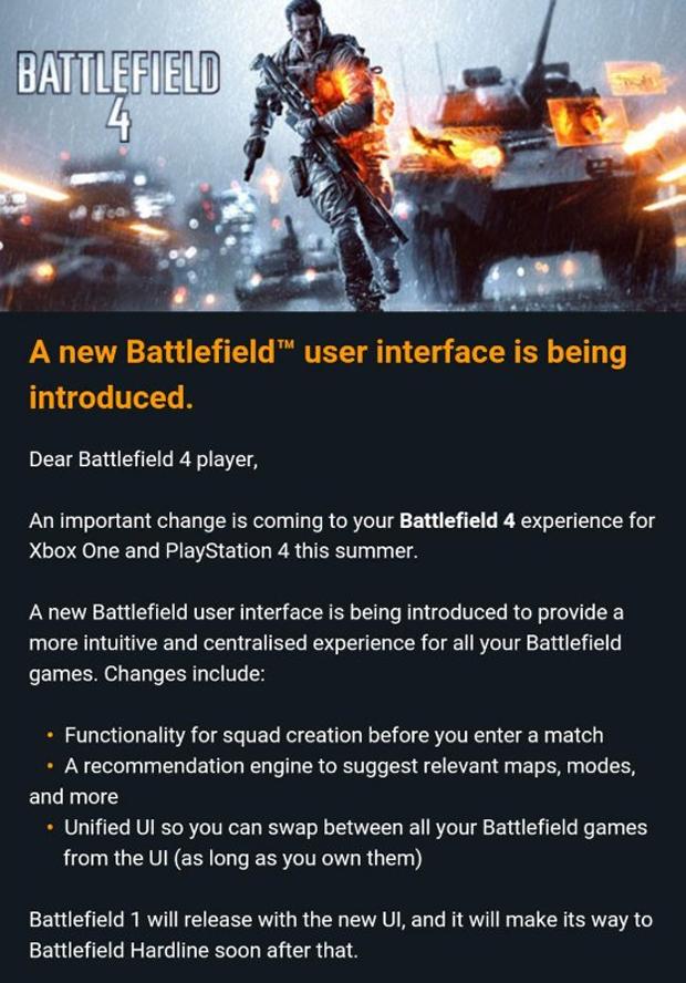 Los Battlefield cambiarán el aspecto de su interfaz este verano en consolas