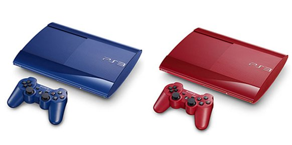 PlayStation 3 Super Slim (azul azurita y rojo granate)