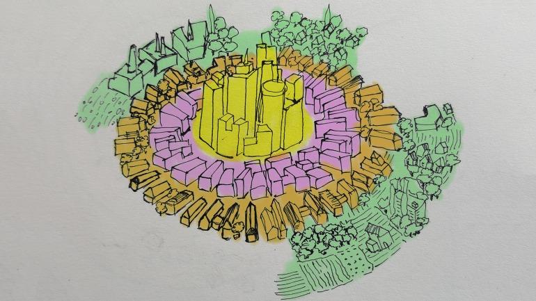 La estructura de la Ciudad 17 es concéntrica con respecto a su edificio capitolio. Una estructura ideal para crear puntos de referencia.// Imagen: Medium; Konstantinos Dimopoulos.